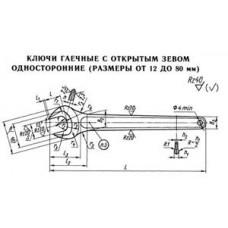 41 Ключи гаечные с открытым зевом односторонние (размеры от 12 до 80 мм)
