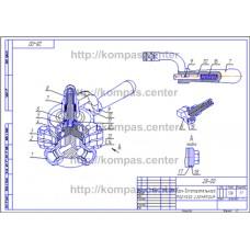 28-00 - Кран вспомогательного тормоза изометрия - чертеж